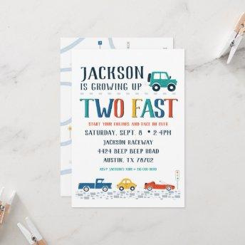 Two Fast Second Birthday Invitation