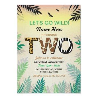 Two Jungle 2nd Birthday Party Safari ZOO Invite