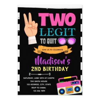 Two legit to quit girl birthday party invitation