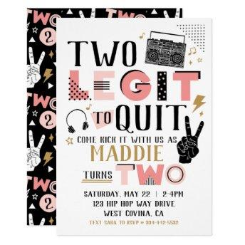 Two Legit to Quit Second Birthday Invitation