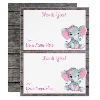Two Per Page Thank You Invitation Elephant Girl Shower