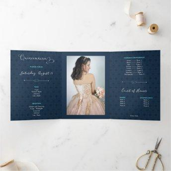 Two Photo Tropical Silhouette Quinceanera Tri-Fold Invitation