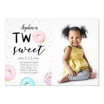 Two Sweet 2nd Donut Theme Birthday Party Photo Invitation