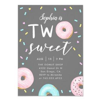 Two Sweet Donut Theme Birthday Party Invitation
