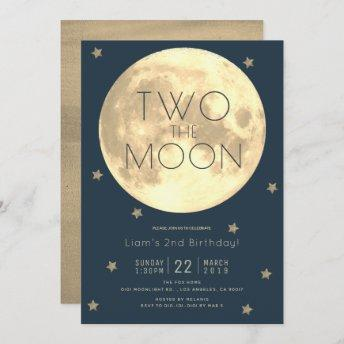 Two the Moon Navy Blue Boy 2nd Birthday Invitation