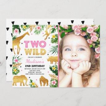 Two Wild 2nd Birthday Party Safari Animals Party Invitation