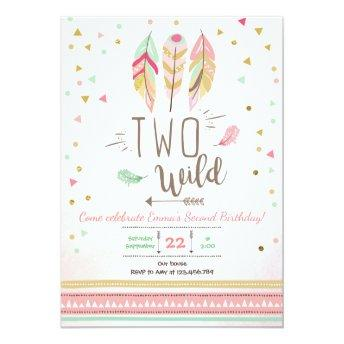 Two Wild Birthday Girl Pink Gold 2nd Boho Feathers Invitation