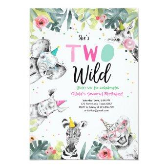 Two Wild Birthday Invitation Safari Girl Animals