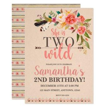 Two Wild Boho Chic Birthday Invitation