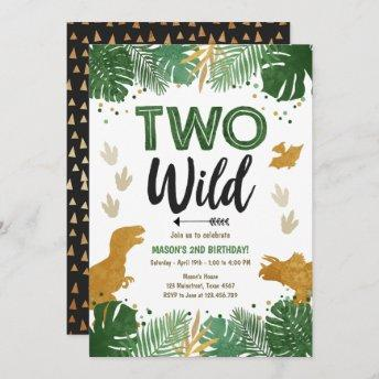Two Wild Dino Party Boy Gold Dinosaur 2nd Birthday Invitation