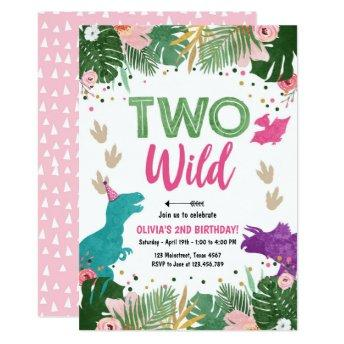 Two Wild Dino Party Girl Pink Dinosaur Birthday Invitation