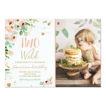 Two Wild Girl 2nd Birthday Invite Floral Pink Gold