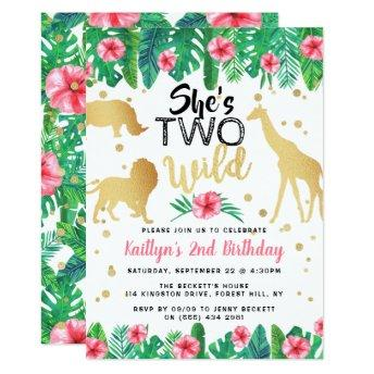 Two Wild Girls Second Birthday Party Invitation