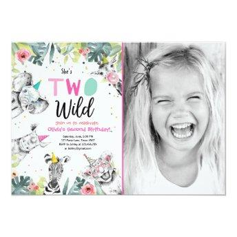 Two Wild Safari Animals Girl Birthday Invitation