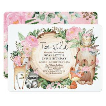 Two Wild Tribal Woodland Girl 2nd Birthday Party Invitation