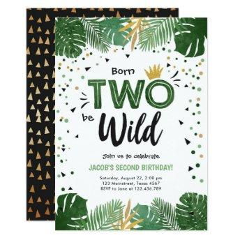 Two Wild Tropical Safari Gold Boy Second Birthday Invitation