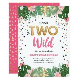 Two Wild Tropical Safari Gold Girl Second Birthday Invitation
