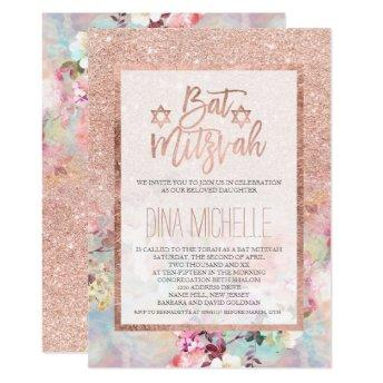 Typography rose gold floral watercolor Bat Mitzvah