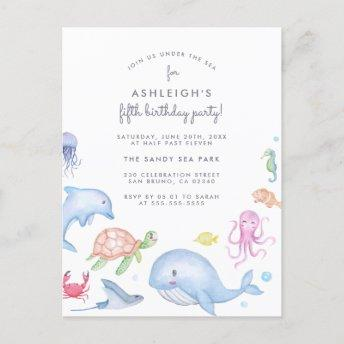 Under The Sea | Cute Nautical Boys Birthday Party Invitation PostInvitation