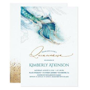 Under the Sea Gold Mermaid Tail Quinceanera Invitation