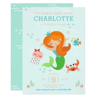 Under the Sea Mermaid with Red Hair Kids Birthday
