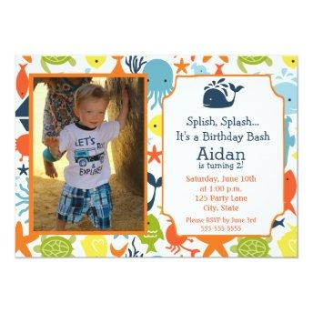 Under the Sea, Nautical with photo Birthday Invitation