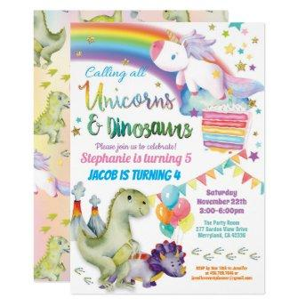Unicorn and dinosaur joint birthday boy and girl invitation
