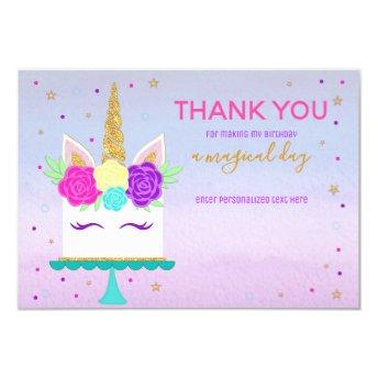 Unicorn Cake Thank You Note Pink Purple Gold