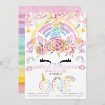 Unicorn Party Magical First Birthday Invitation