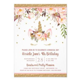 Unicorn Pink and Gold Birthday Party Invitation