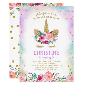 Unicorn Pink Gold Beautiful Floral Birthday Party Invitation