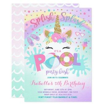 Unicorn Pool Party Invitation Pool Birthday Party