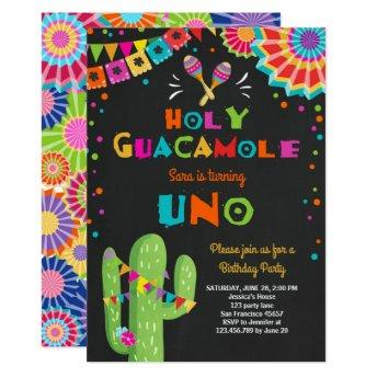 Uno Fiesta First Birthday invitation Cactus Party