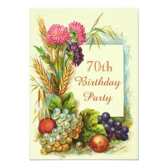 Vintage 70th Birthday Colorful Fruits & Flowers Invitation