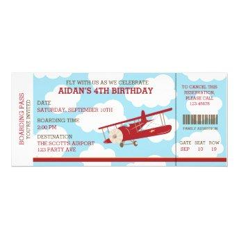 Vintage Airplane Boarding Pass Ticket Birthday Invitation