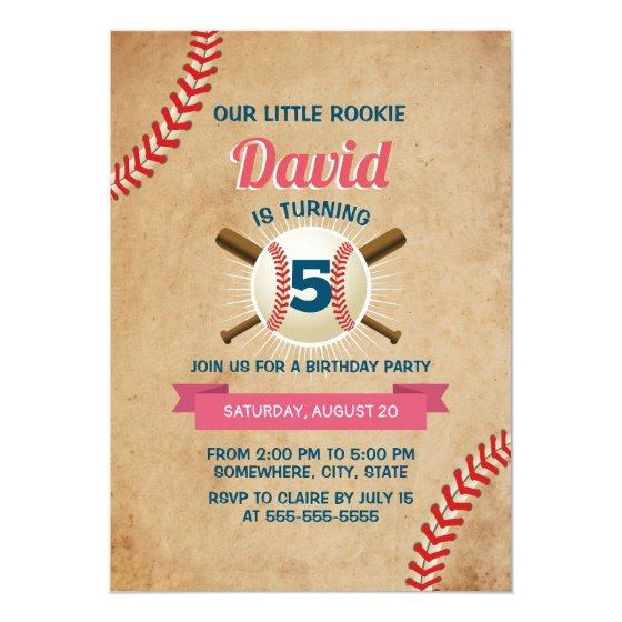 190 Vintage Baseball Sports Theme Birthday Party Invitation