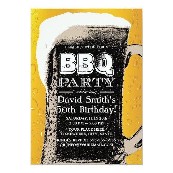 211 Vintage Beer BBQ 50th Birthday Party Invitation