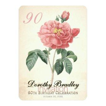 Vintage Blooming Rose 90th Birthday Custom