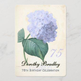 Vintage Blue Hydrangea 75th Birthday Celebration 2 Invitation