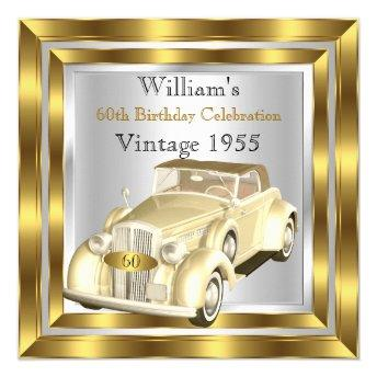 Vintage Car Men's 60th Birthday Party Gold Silver
