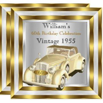 Vintage Car Men's 60th Birthday Party Gold White