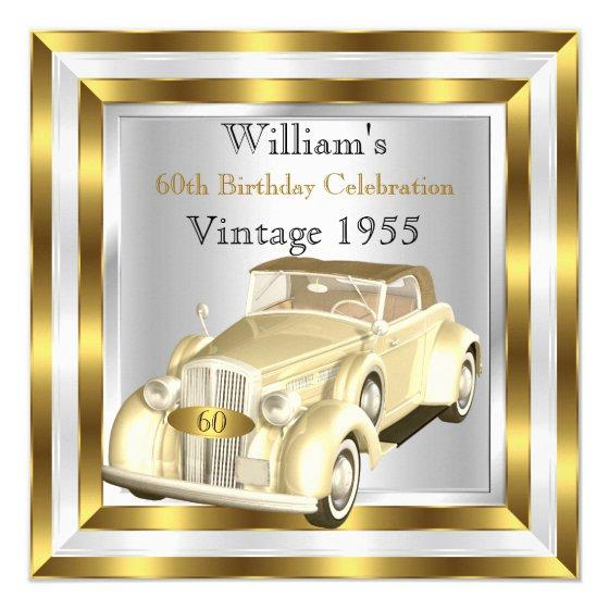 220 Vintage Car Mens 60th Birthday Party Gold White Invitation