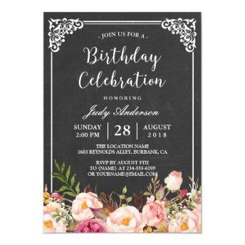 Vintage Chalkboard Floral Birthday Celebration