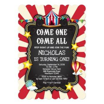 Vintage Circus Birthday Invitation