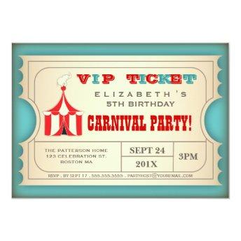 Vintage Circus Carnival Birthday Party Ticket