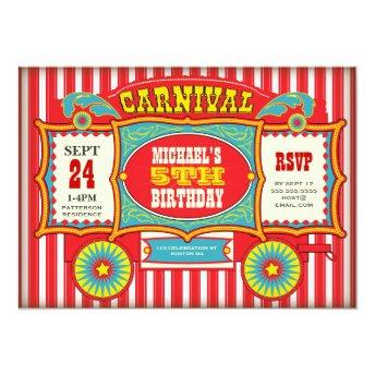 Vintage Circus Carnival Wagon Birthday Party Invitation