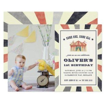 Vintage Circus Photo Birthday Party Invitation