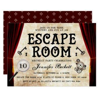 Vintage Escape Room Party Any Age Birthday Invitation