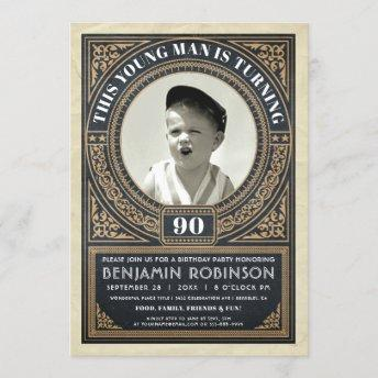 Vintage Milestone Birthday Invitation Your Photo