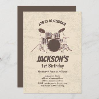 vintage, music, drum set, birthday invitation